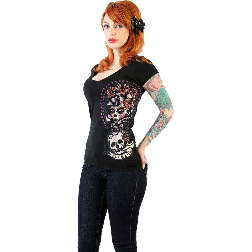 Women's Lucky 13 Shadow Lady Deep V-Neck T-Shirt Black Day of the Dead