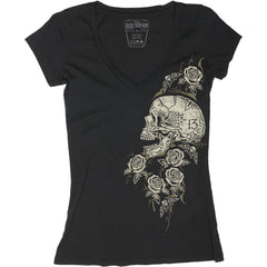 Women's Womens Lucky 13 Skull Rose Deep V Neck T-Shirt Black Sugar Skull