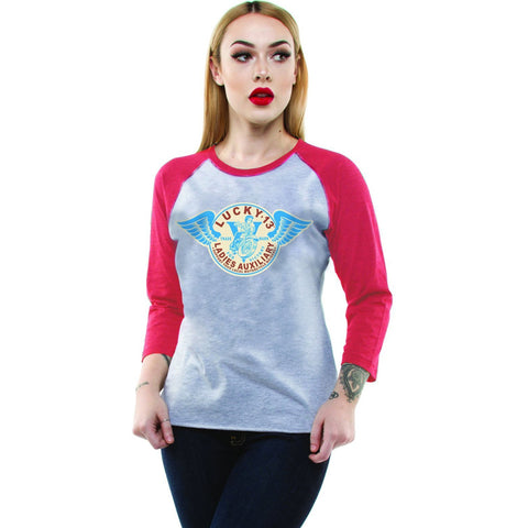 Women's Lucky 13 LADIES AUXILIARY 3/4 Sleeve Raglan T-shirt Retro Motorcycle