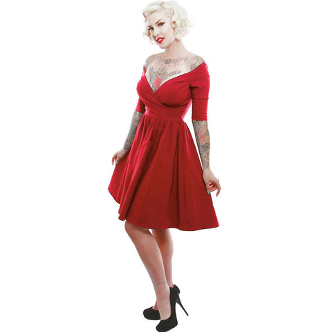 Lucky 13 The Loren Off The Shoulder Bengaline Pinup Dress Red Rockabilly