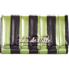 Lux De Ville Bad Reputation Wallet Green/Black Metallic Retro Rockabilly Stripes