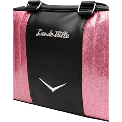 Lux De Ville Carry All Tote Matte Black and Pink Bubbly Sparkle Rockabilly Retro