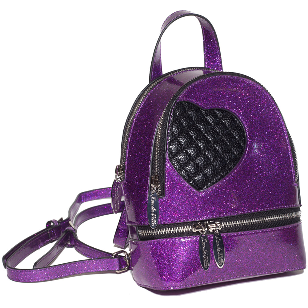 Lux De Ville Mini Sweetheart Backpack Electric Purple Sparkle Vinyl