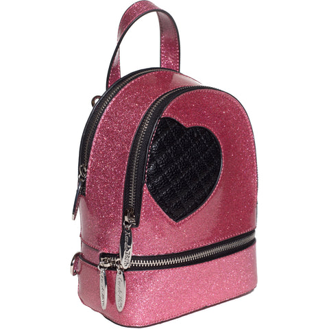 Lux De Ville Mini Sweetheart Backpack Pink Bubbly Sparkle Vinyl
