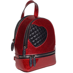 Lux De Ville Mini Sweetheart Backpack Venom Red Sparkle Vinyl