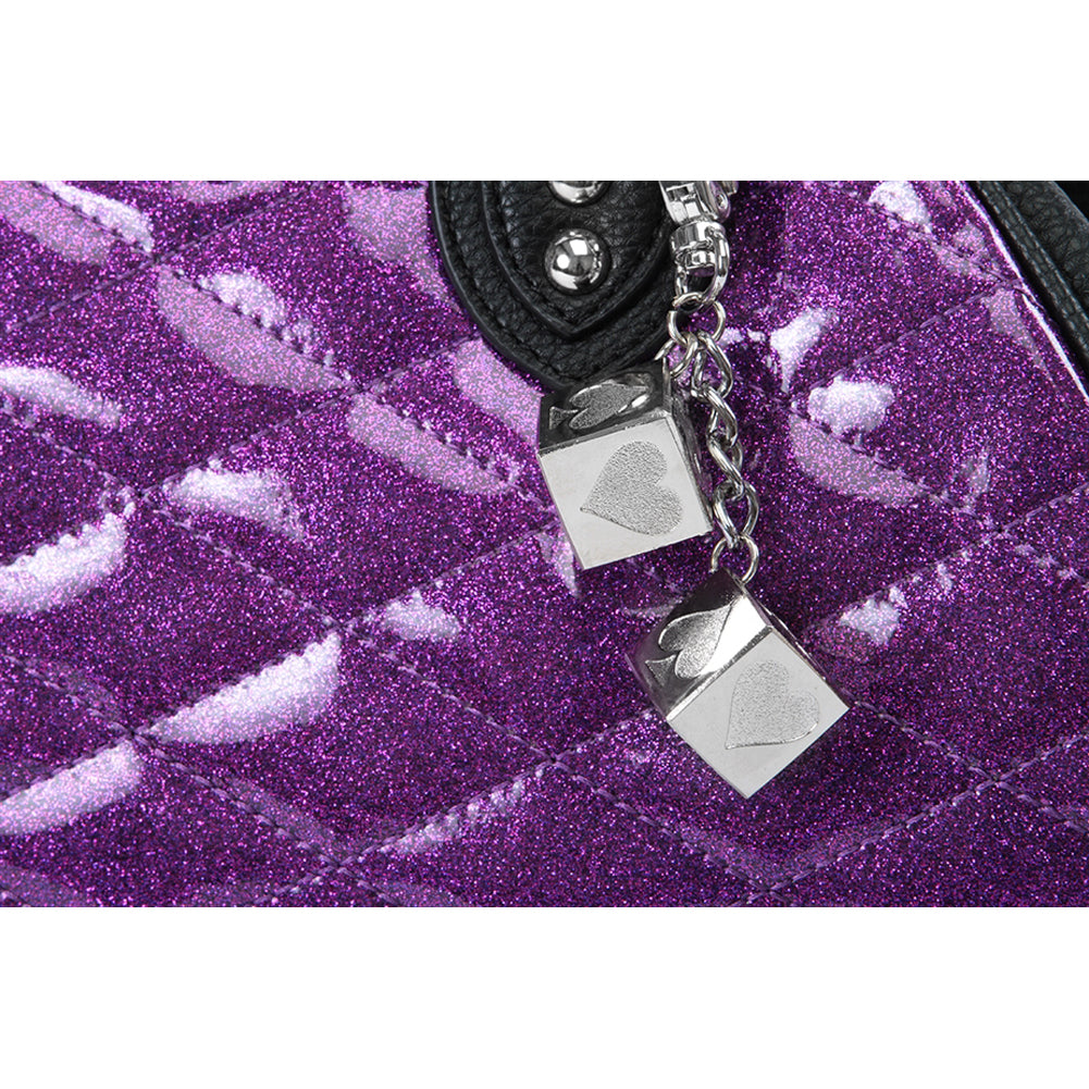 Lux De Ville Sin City Kiss Lock Matte Black and Electric Purple Sparkle Vintage