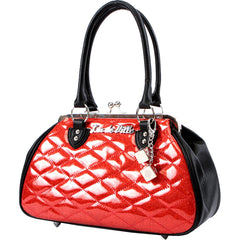 Lux De Ville Sin City Kiss Lock Matte Black and Venom Red Sparkle Rockabilly