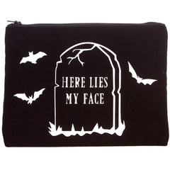 Mayhem Marilyn Here Lies My Face Cosmetic Bag Black Makeup Goth Thombstone Bats