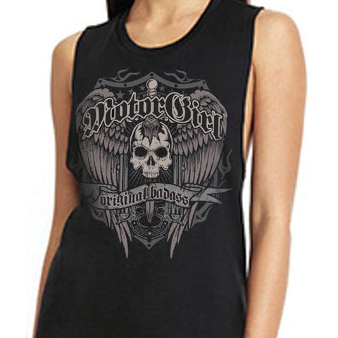 Women's MotorGirl Original Badass Muscle Tank Top Winged Skull Dagger