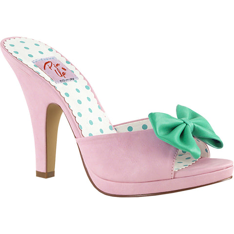 Women's Pin Up Couture Siren-03 Platform Slide w/ Bow Pink Rockabilly Pin Up