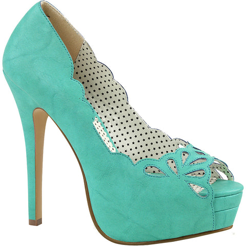 Pin Up Couture BELLA-30 Platform Peep Toe Pump Teal Rockabilly Pin Up Heels