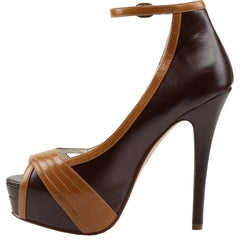 Pin Up Couture BELLA-31 Platform Ankle Strap Pump Brown/Maple Retro Rockabilly