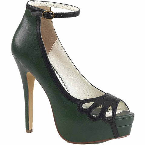 Pin Up Couture BELLA-31 Platform Pump Dark Green/Black Rockabilly Retro Vintage