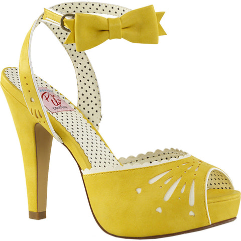Pin Up Couture BETTIE 01 Ankle Strap Sandal Yellow Vintage Retro Rockabilly