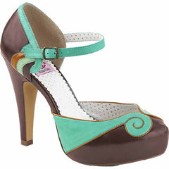 Pin Up Couture BETTIE-17 Platform d'Orsay Pump Brown/Teal Rockabilly Vintage