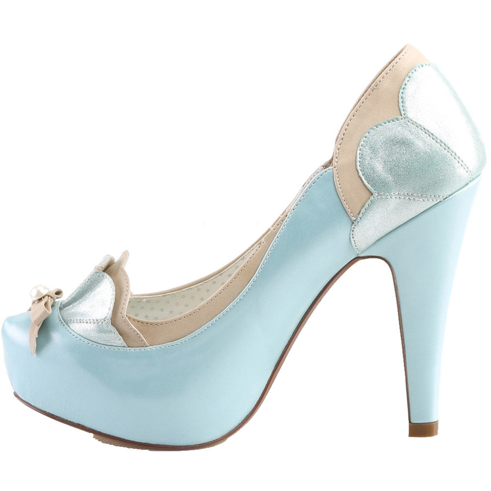 Pin Up Couture BETTIE-20 Platrform Two Tone Pump Blue/Tan Rockabilly Vintage