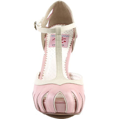 Pin Up Couture BETTIE-25 Two Tone T-Strap Pump Baby Pink/Cream Rockabilly Retro