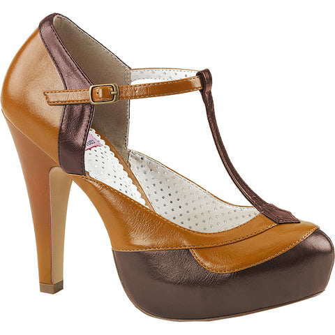 Pin Up Couture BETTIE-29 Hidden Platform T-Strap Pump Dark Brown/Maple Vintage