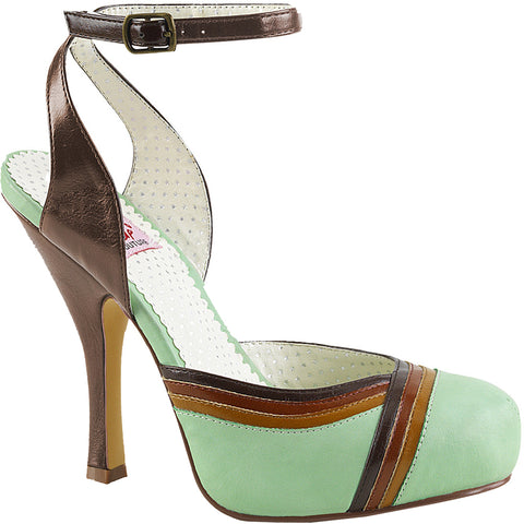 Women's Pin Up Couture CUTIEPIE-01 Hidden Platform Sandal Mint Retro Rockabilly