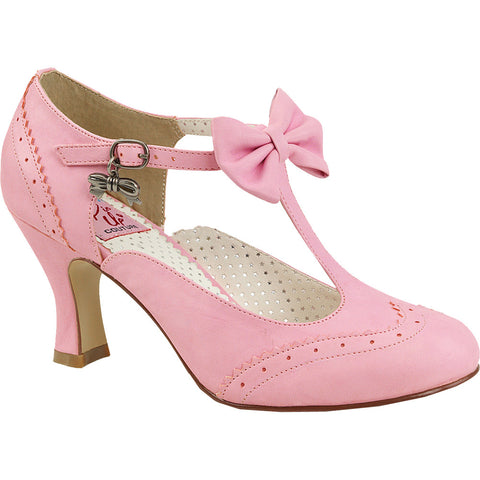 Pin Up Couture Flapper-11 Wing Tip T-Strap Pump Pink Retro Vintage  Rockabilly 761aa7ecdb8