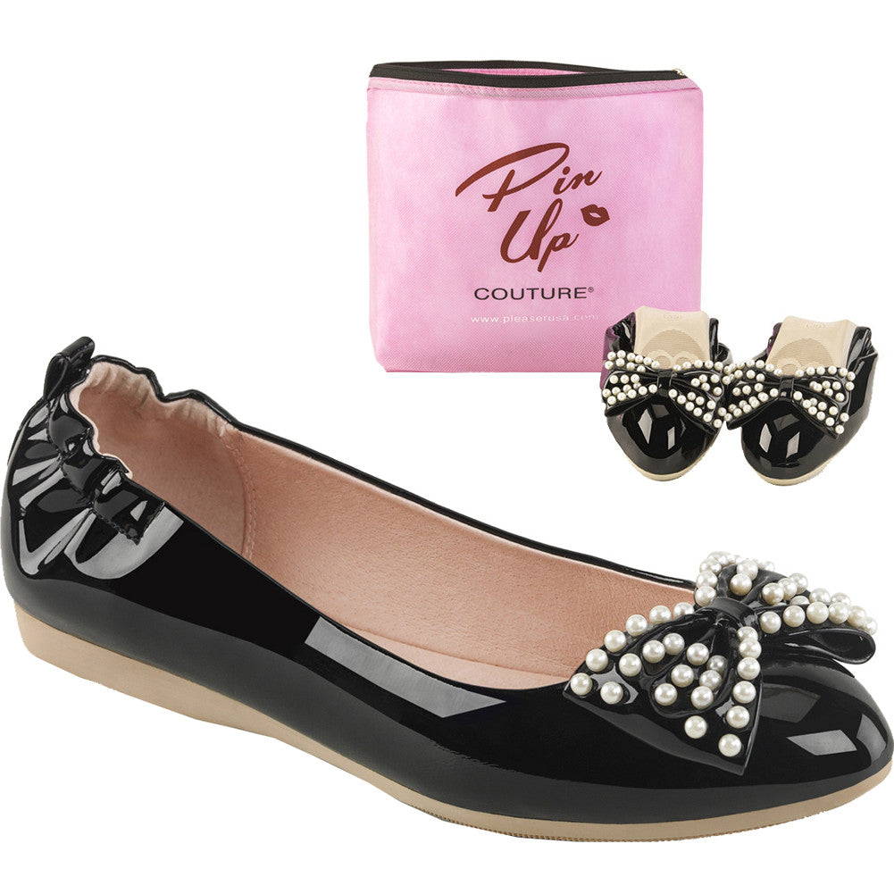Pin Up Couture IVY-09 Foldable Flat Black Retro Rockabilly