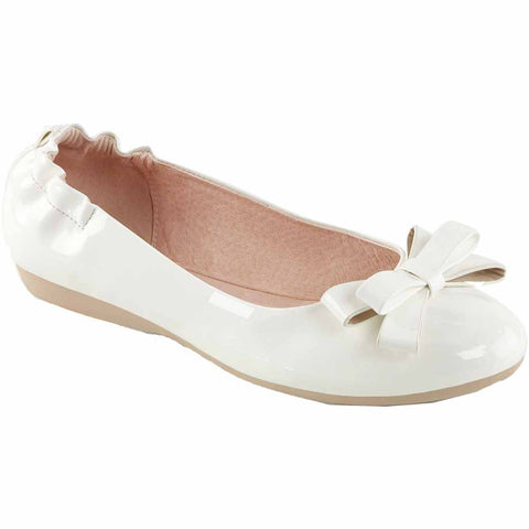 Pin Up Couture OLIVE-03 Foldable Ballet Flat White Rockabilly Retro Vintage