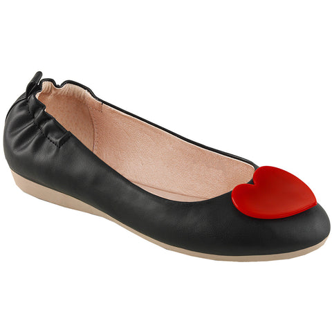 Women's Pin Up Couture OLIVE-05 Foldable Flat Black