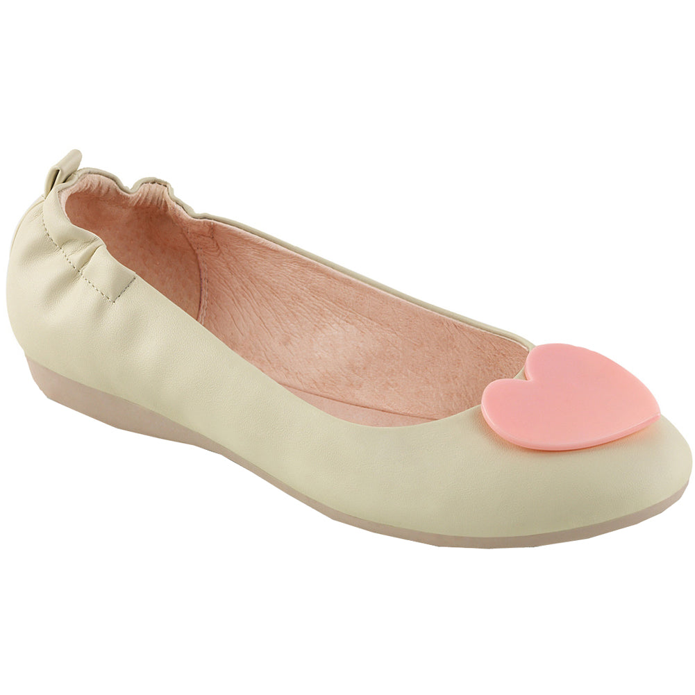 Women's Pin Up Couture OLIVE-05 Foldable Flat Cream Retro Heart