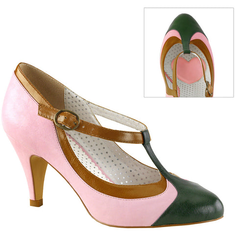Pin Up Couture PEACH-03 T-Strap Pump Baby Pink Retro Vintage Rockabilly Pin Up