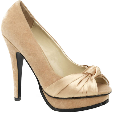 Pin Up Couture Pleasure-05 Peep Toe Heel Champagne Suede Satin bcab0c0ef32