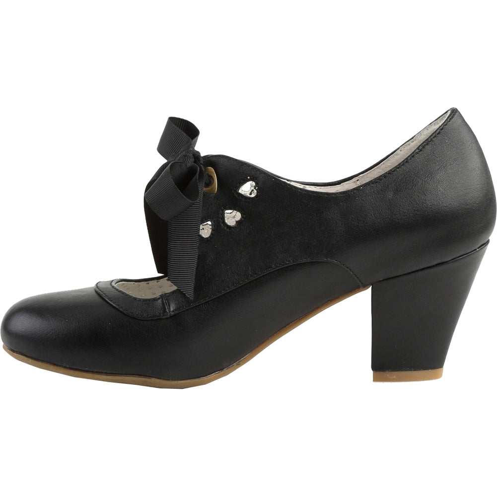 Pin Up Couture WIGGLE-32 Cuben Heel Mary Jane Pump Black Rockabilly