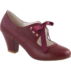 Pin Up Couture WIGGLE-32 Cuben Heel Mary Jane Pump Burgundy Rockabilly