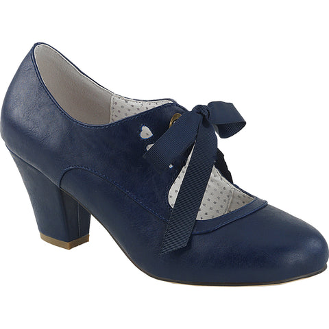 Pin Up Couture WIGGLE-32 Cuben Heel Mary Jane Pump Navy Blue Rockabilly