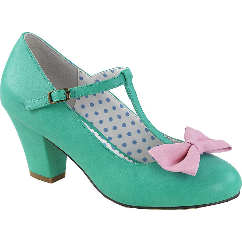 Pin Up Couture WIGGLE-50 Cuben Heel T-Strap Pump Teal/Pink Rockabilly
