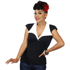 Women's Pinky Pinups Bell Sleeve Top Black Retro Vintage Rockabilly Pin Up