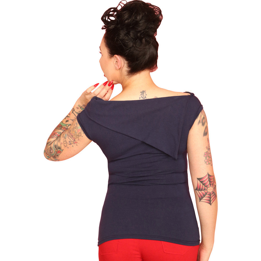 Womens Pinky Pinups Big Collar French Top Navy Retro Rockabilly Vintage Inspired