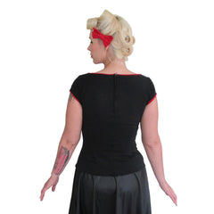 Women's Pinky Pinups Black With Red Trim Boat Neck Top Retro Rockabilly Pinup