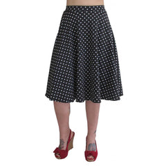 Women's Pinky Pinups Black and White Polka Dot Swing Skirt Retro Rockabilly