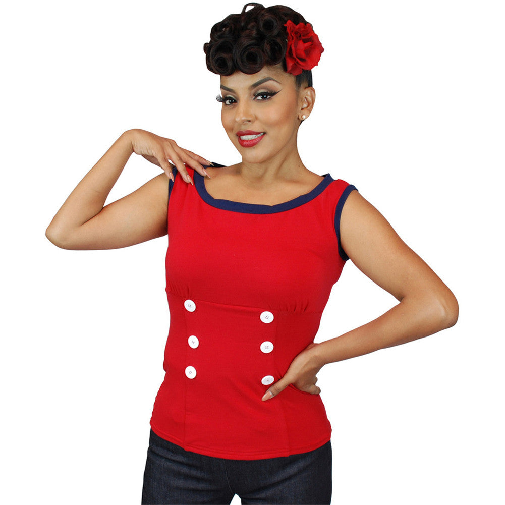 Women's Pinky Pinups Boat Neck Back Bow Top Red Retro Vintage Rockabilly Pin Up