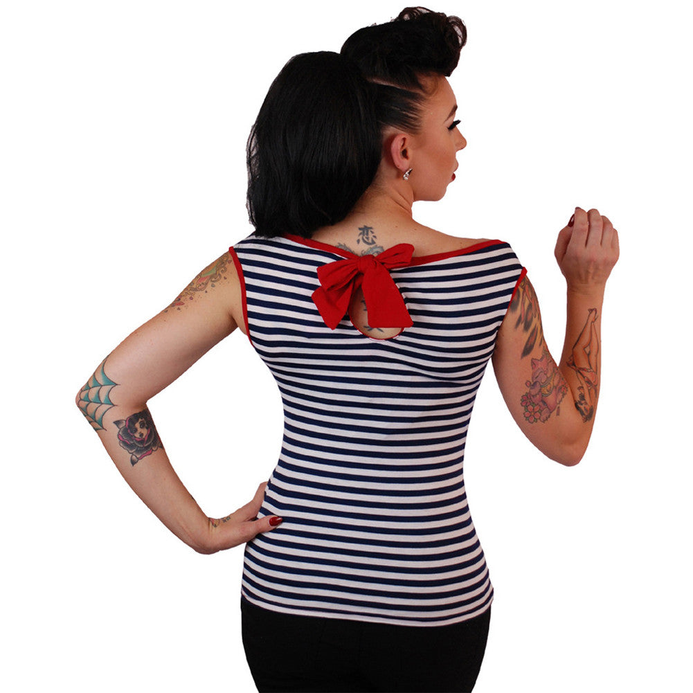 Women's Pinky Pinups Boat Neck Sleeveless Top Navy/White Retro Rockabilly Pin Up