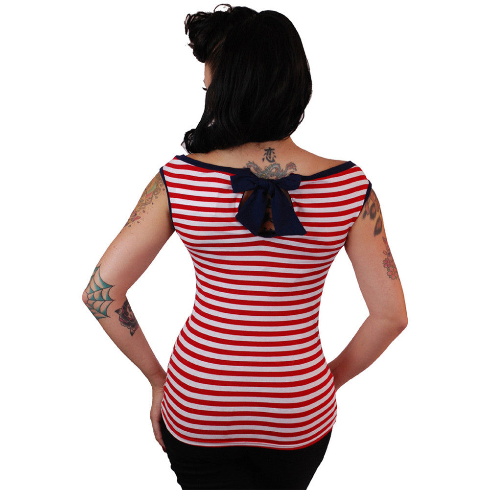 Women's Pinky Pinups Boat Neck Sleeveless Top Red/White Retro Rockabilly Pin Up