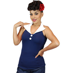 Women's Pinky Pinups Halter Top Blue Retro Vintage Rockabilly Pin Up