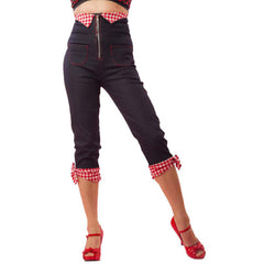 Women's Pinky Pinups High Waist Bow Capri Pants Retro Vintage Rockabilly Pinup