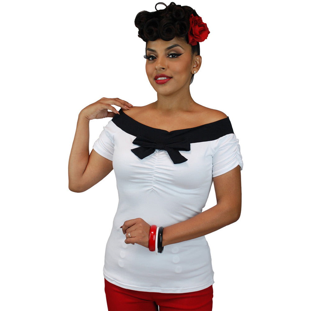 Womens Pinky Pinups Off Shoulder Short Sleeve Top White Vintage Rockabilly Pinup