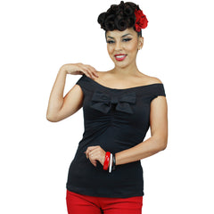 Women's Pinky Pinups Off Shoulder Sleeveless Top Black Vintage Rockabilly Pin Up