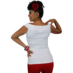Women's Pinky Pinups Off Shoulder Sleeveless Top White Vintage Rockabilly Pin Up