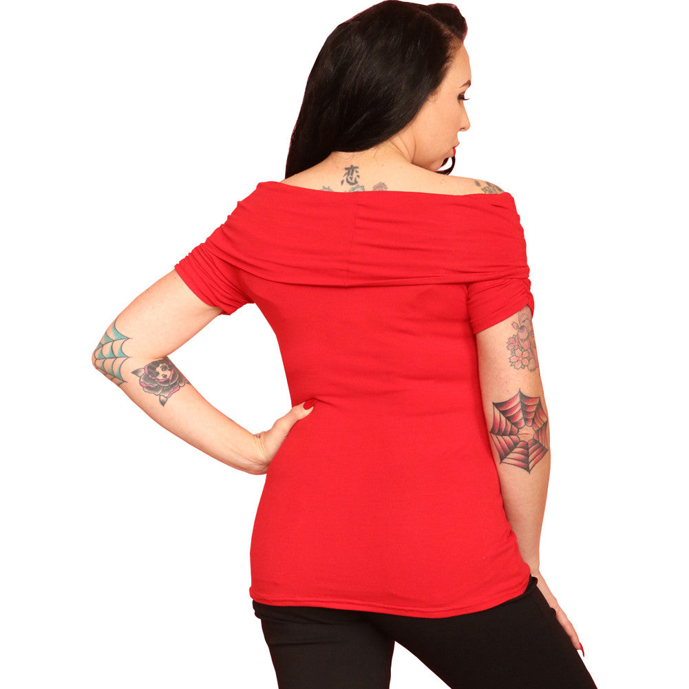 Women's Pinky Pinups Off The Shoulder Bow Top Red Rockabilly Vintage Inspired