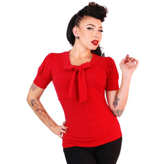 Women's Pinky Pinups Puff Sleeve Bow Top Red Retro Vintage Rockabilly Pin Up