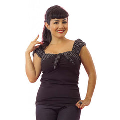 Women's Pinky Pinups Puff Sleeve Top Retro Rockabilly Pinup
