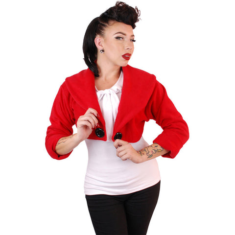 Women's Pinky Pinups Sailor Bolero Red Retro Vintage Rockabilly Pin Up